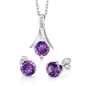 """SHIP BY USPS: Genuine Amethyst 925 Sterling Silver Round Cut Earrings Pendant Set 2.25 Carat with 18"""" Silver Chain"""