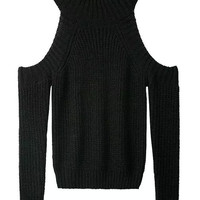 Black Off The Shoulder Soft Knitted Sweater