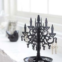 Black Metal Chandelier Tree Stand for Jewelry and Accessories / Earring Holder, Modern Jewelry Organizer