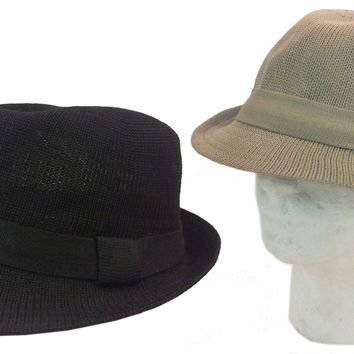 FEDORA TRILBY GANGSTER FOLDABLE MESH FEDORA BUCKET HAT MEN WOMEN SOLID CAP