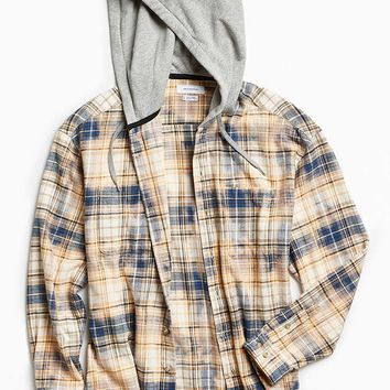 UO Bleached Hooded Flannel Button-Down Shirt - Urban Outfitters