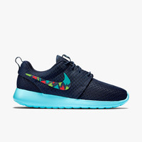 Custom Nike Roshe abstract colorful design, Womens Nike Roshe Run, Midnight blue, Navy with lime, red, and teal colors