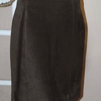 Danier Brown Suede/Leather Pencil Skirt/Vintage Ladies Clothing