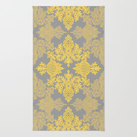 Golden Folk - doodle pattern in yellow & grey Rug by Micklyn