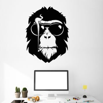 Vinyl Wall Decal Monkey Head In Sunglasses Cigarette Smoking Stickers (2718ig)