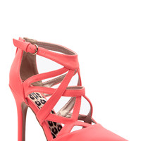 Neon Coral Faux Nubuck Diamond Cut Pointed Toe Ankle Strap Heels