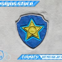 Paw Patrol Applique Design CHASE BADGE EMBROIDERY pattern