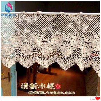 2016 new fashion cotton crochet lace curtains window cover crochet rod curtain cutout coffee curtain with flower for home decor