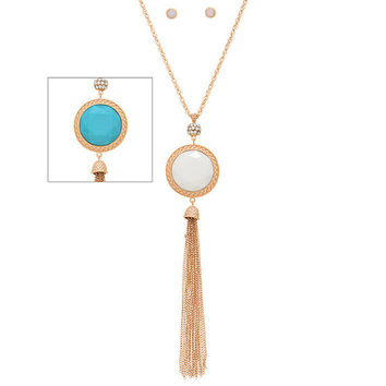 Long Gold, Turquoise and Ivory Cabochon Tassel Necklace and Earrings Set