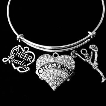 I Love Cheerleading Cheerleader Cheer Mom Jewelry Adjustable Bracelet Expandable Silver Charm Wire Bangle Crystal Heart One Size Fits All Gift Trendy Cheerleader Stacking