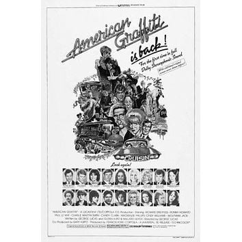 American Graffiti poster Metal Sign Wall Art 8in x 12in Black and White