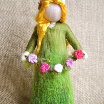 Waldorf inspired needle felted doll : Spring Fairy