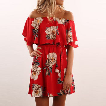 Red Floral 2017 Summer dress off shoulder Slash Ruffles neck print A-lined mini dress red fashion women dress