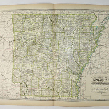 Antique Arkansas Map 1899 Century AR Map, Arkansas State Map, Vintage Home Decor, Arkansas Gift Under 30, 11 x 15 Map, 1st Anniversary Gift