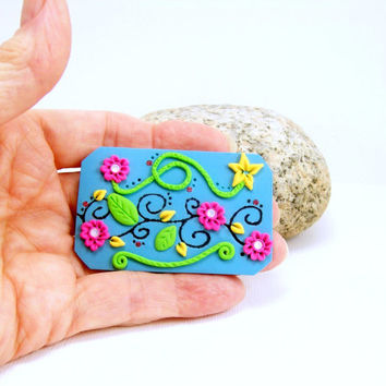 Polymer Clay Turquoise Brooch with Bright Flowers