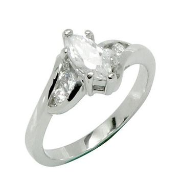 Marquis Cut 6 Prong Set CZ Engagement Style Stainless Steel Ring with Offset Sides and Tiny CZ Stones