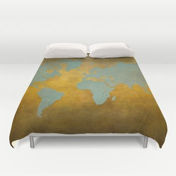 World map 9 green gold Duvet Cover by jbjart