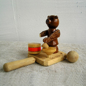 Vintage Bear drummer, teddy-bear, Vintage wooden toy, Wood toy, Handmade, Woodworking, Home decor, Rustic, Toy, Children, Animal, My wealth