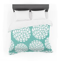 "Pom Graphic Design ""Hydrangea's Blossoms"" Teal Circles Featherweight Duvet Cover"