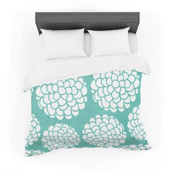 """Pom Graphic Design """"Hydrangea's Blossoms"""" Teal Circles Featherweight Duvet Cover"""