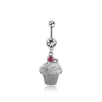 New Charming Dangle Crystal Navel Belly Ring Bling Barbell Button Ring Piercing Body Jewelry = 4661635908