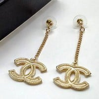 Chanel Women Fashion Logo Stud Earring Jewelry
