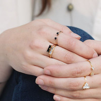 Angel Fire Single Baguette Ring