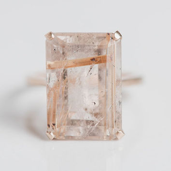 14k Rutilated Quartz Cocktail Ring   Yellow Gold Emerald Cut Big Natural Gemstone Ring   Gold Flecked Unique One of a Kind Gem Ring