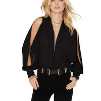 Black cut-out Long Sleeve Chiffon Bodysuit