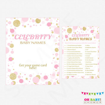 Pink and Gold Baby Shower, Celebrity Baby Name Game, Baby Shower Printables, Pink and Gold Confetti, Instant Download, Baby Girl, CB0003-PG