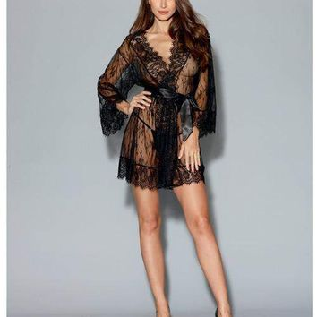 Dreamgirl Black Long-Sleeved Lace Kimono Robe w/Eyelash Trim