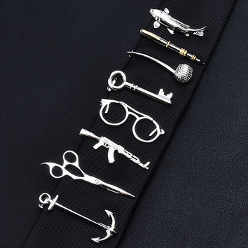 Tie Bar-Scissors, Fish, Glasses, Anchor, Key, Pipe, Rifle