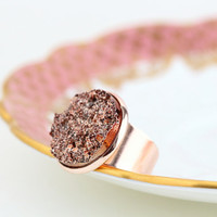Copper Statement Ring - Cocktail Ring, Copper Imitation Druzy, Womans Ring, Adjustable Ring, Metallic, Mothers Day Gift