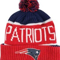"New England Patriots Red Star ""Calgary"" Beanie Hat with Pom - NFL Cuffed Winter Knit Toque Cap"