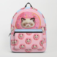 Persian Cat Strawberry Donut Backpack by lostanaw