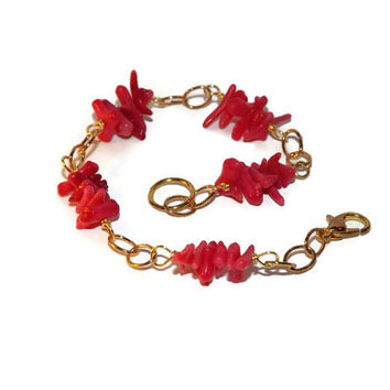 Red coral spike bracelet / Wire wrapped bracelet / Genuine coral stick / Sea jewelry / Summer beach bracelet / Custom made to order
