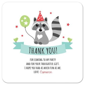 Raccoon with party hat and green balloon, flat birthday thank you card with custom text