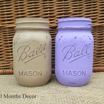 Set of 2 Painted Mason Jars in Tan & Purple, Pint Size, Distressed Home Wedding Party Decor, Rustic Shabby Chic Floral, Country