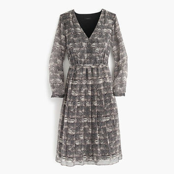 J.Crew Womens Long-Sleeve Dress In Feather Print