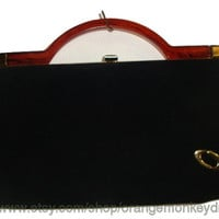 Free Ship vintage black fabric with tortoise lucite handle Clutch evening bAG Purse handbag