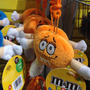 M&M's World Orange Character Keychain Plush New with Tags