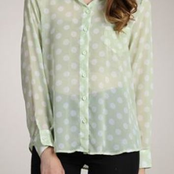 Playing for Keeps Polka Dot Button Down Blouse in Pastel Mint | Sincerely Sweet Boutique