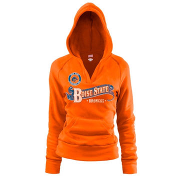 Boise State Broncos Women's Rugby Distressed Deep V-Neck Pullover Hoodie – Orange