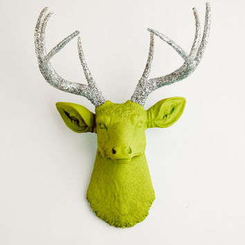 Faux Deer Head - The Livia - Mantis Green W/ Silver Glitter Antlers Resin Deer Head- Stag Resin White Faux Taxidermy