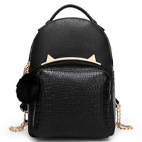 Stylish Back To School Casual Leather Cats Backpack [6581504967]