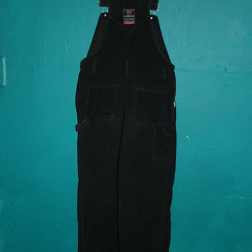 Womens  90s Black Corduroy Grunge BIB OVERALLS / Corduroy Overalls / OVERALL Pants / JUmpsuit