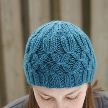 Hand knit hat, teal beanie, turquoise hat, womens knit hats, ladies hat, smocking design, teal hat, knit hat woman, womens fashion, blue hat