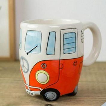 Cartoon Double Bus Mugs Hand Painting Retro Ceramic Cup Coffee Milk Tea Mug Drinkware Novetly Gifts 1pc