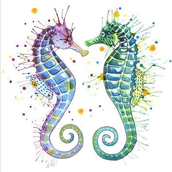 Guardians of the Sea: print ,seahorse