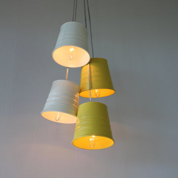 Garden Plant Pot Chandelier - Upcycled Hanging Pendants Chandelier featuring Galvanized White and Yellow Planters - BootsNGus Lamp Designs
